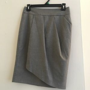 Benetton Pencil Wrap Skirt Houndstooth Grey SMALL